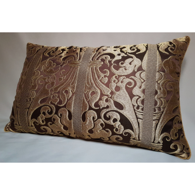 Lumbar Throw Pillow Brown and Gold Silk Lampas Rubelli Fabric Belisario Pattern Cushion Cover