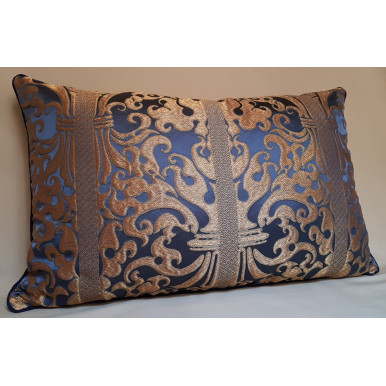 Throw Pillow Cover Blue Sapphire and Gold Silk Lampas Rubelli Fabric Belisario Pattern