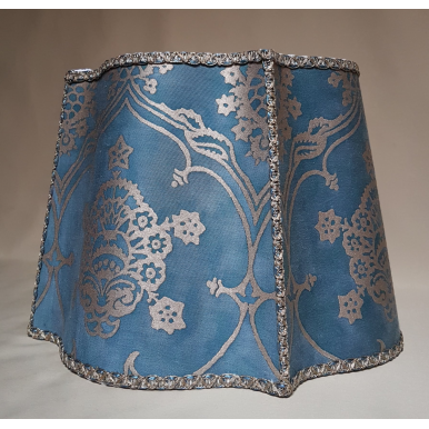 Fancy Square Lamp Shade Fortuny Fabric Blue & Silvery Gold Veronese Pattern