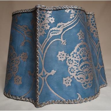 Abat Jour Florentin Tissu Imprimé à la Main Fortuny Veronese Bleu et Or