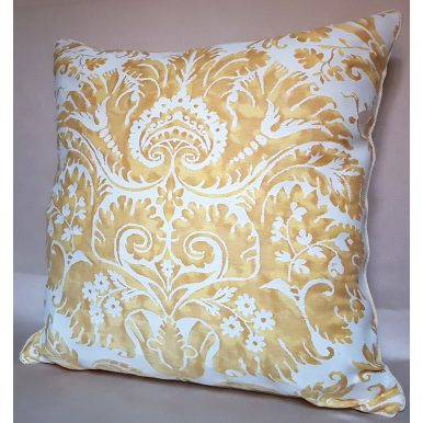 Fortuny Fabric Throw Pillow Cushion Cover Yellow & White Demedici Pattern