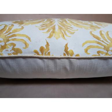 Fodera per Cuscino in Tessuto Fortuny Demedici Giallo e Bianco