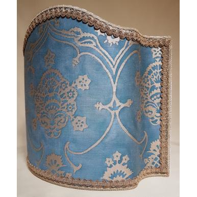 Paralume Ventola in Tessuto Fortuny Veronese in Blu e Oro
