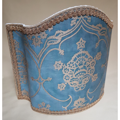 Venetian Lamp Shade in Fortuny Fabric Blue & Silvery Gold Veronese Half Lampshade