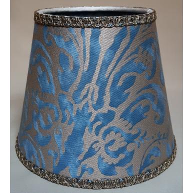 Abat Jour à Pince en Tissu Fortuny Sevres Bleu et Or