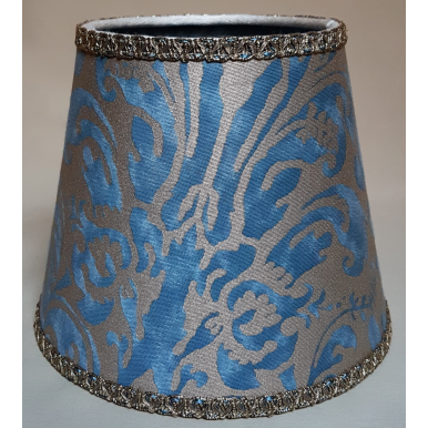 Clip On Lamp Shade in Fortuny Fabric Brilliant Blue & Silvery Gold Sevres Pattern