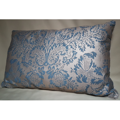 Lumbar Throw Pillow Cushion Cover Fortuny Fabric Slate Blue & Silvery Gold Solimena Pattern