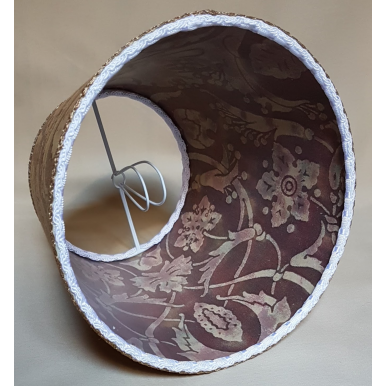 Clip On Lamp Shade in Fortuny Fabric Tan, Olive & Plum Persepolis Pattern