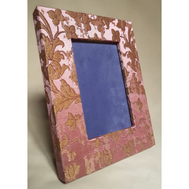 Rubelli Silk Jacquard Fabric Covered Tabletop Picture Photo Frame Pink & Gold Les Indes Galantes Pattern