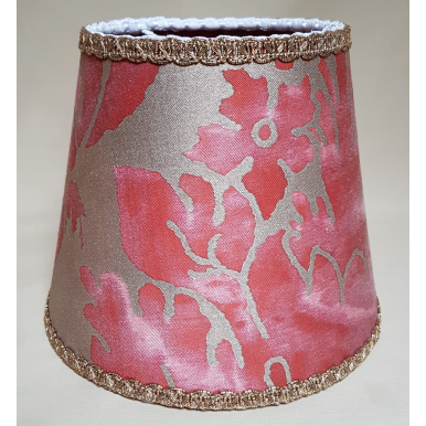 Clip On Lamp Shade in Fortuny Fabric Red & Gold Vivaldi Pattern