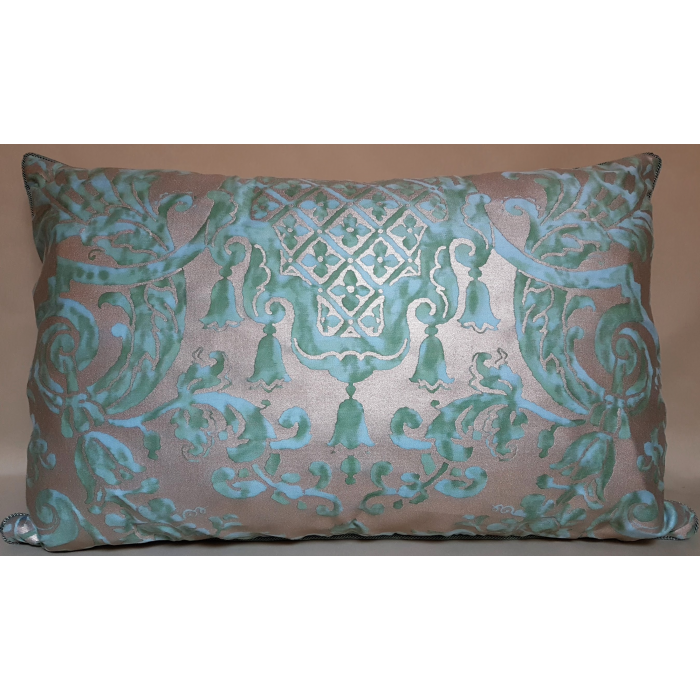 Lumbar Throw Pillow Cushion Cover Fortuny Fabric Peacock and Silvery Gold Carnavalet Pattern