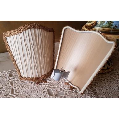 Wall Sconce Venetian Clip On Shield Shade Ivory Pleated Taffetas Rubelli Fabric