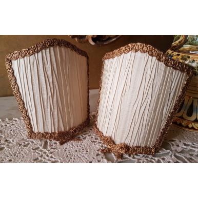 Ventolina Scudetto per Applique in Tessuto Taffetas Plissé Rubelli Avorio