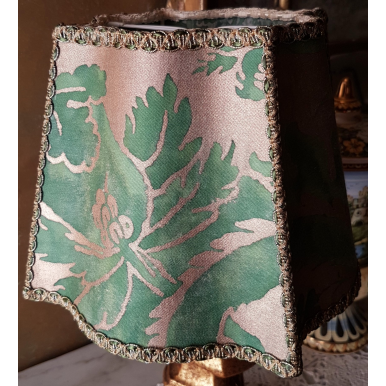 Clip On Fancy Square Lamp Shade Fortuny Fabric Green & Silvery Gold Olimpia Pattern