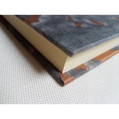 Carnet de Notes Couverture Tissu Fortuny Marmo Noir, Gris et Cuivre
