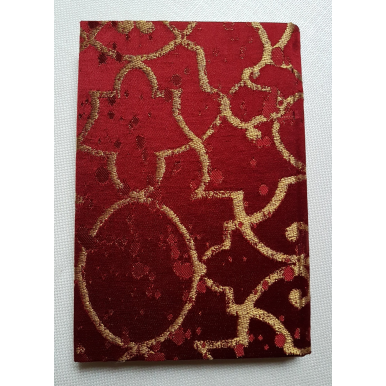 Rubelli Fabric Covered Journal Hardcover Notebook Silk Lampas Red & Gold Morosini Pattern