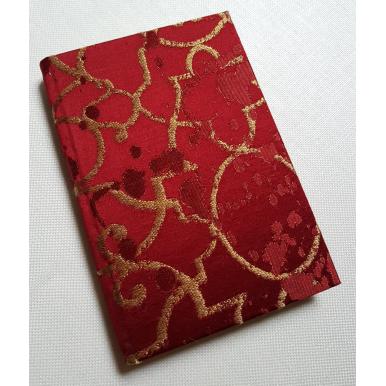 Quaderno con Copertina Rivestita in Tessuto Lampasso di Seta Rubelli Morosini Rosso e Oro