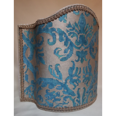 Venetian Lamp Shade Fortuny Fabric Blue-Green & Gold Farnese Pattern