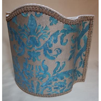 Abat Jour Fait Main en Tissu Fortuny Farnese Bleu-Vert et Or
