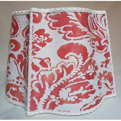 Fancy Square Lamp Shade Fortuny Fabric Red & Beige Corone Pattern