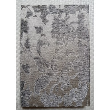 Rubelli Fabric Covered Journal Hardcover Notebook Silk Jacquard Ivory & Silver Les Indes Galantes Pattern