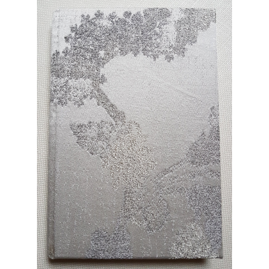 Rubelli Fabric Covered Journal Hardcover Notebook Silk Lampas Ivory & Silver Queen Anne Pattern