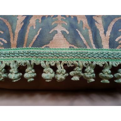 Fodera per Cuscino in Tessuto Fortuny Glicine Verde e Oro
