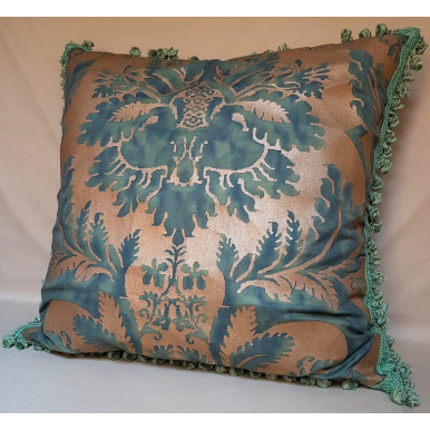 Tassel Trim Fortuny Fabric Decorative Pillow Case Glicine Pattern Green & Gold Texture