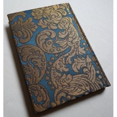 Quaderno con Copertina Rivestita in Tessuto Broccatello di Seta Rubelli Tebaldo Blu e Oro