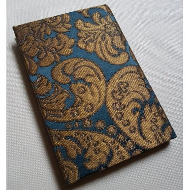 Rubelli Fabric Covered Journal Hardcover Notebook Silk Brocatelle Blue & Gold Tebaldo Pattern