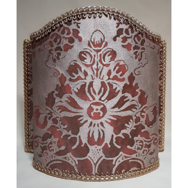Venetian Lamp Shade Fortuny Fabric Plum & Silvery Gold Dandolo Pattern