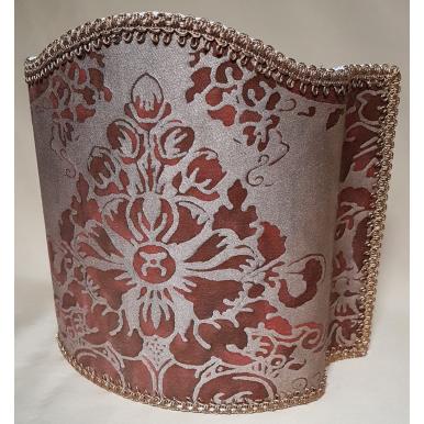 Venetian Lamp Shade Fortuny Fabric Plum & Silvery Gold Dandolo Pattern