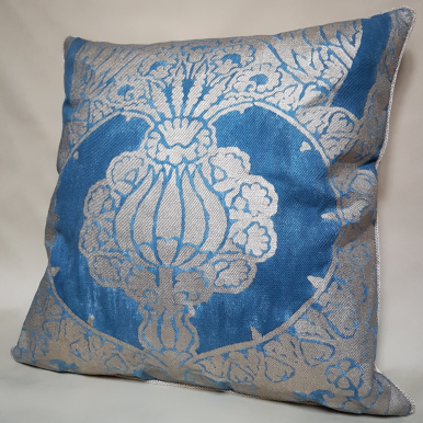 Throw Pillow Cushion Cover Fortuny Fabric Blue & Silvery Gold Nicolo Pattern
