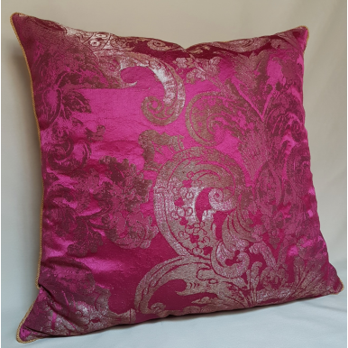 Throw Pillow Cushion Cover Silk Brocade Rubelli Fabric Fuchsia Barbarigo Pattern