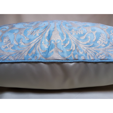Throw Pillow Cushion Cover in Fortuny Fabric Brilliant Blue & Silvery Gold Sevres Pattern