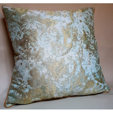 Throw Pillow Cushion Cover Jade Green & Gold Jacquard Rubelli Fabric Mirage Pattern