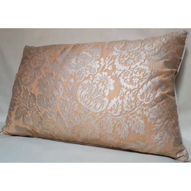 Lumbar Throw Pillow Cushion Cover Fortuny Fabric Silvery Gold & Peach Solimena Pattern