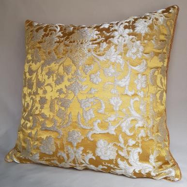 Gold Silk Jacquard Les Indes Galantes Rubelli Fabric Throw Pillow Cushion Cover