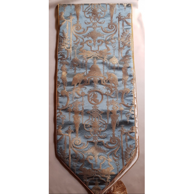 Luxury Table Runner with Pointed Ends And Tassels Silk Brocade Rubelli Fabric Aqua Blue & Gold Aida Pattern