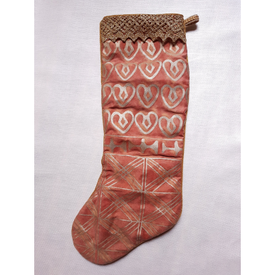 """20"""" Set of 2 Luxury Christmas Stockings Fortuny Fabric Bittersweet & Gold Ashanti Pattern"""