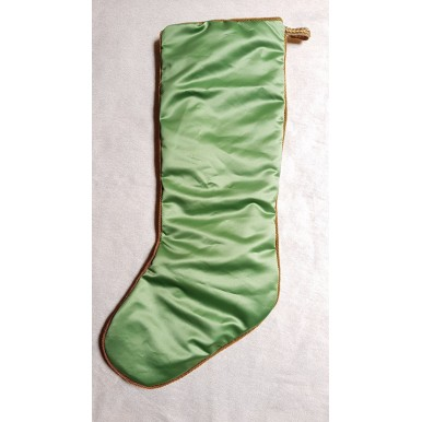 Luxury Christmas Stocking Fortuny Fabric Green & Silvery Gold Olimpia Pattern
