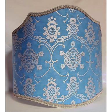 Abat Jour Pour Lampe de Sol Fait Main en Tissu Fortuny Veronese Bleu et Or