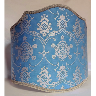 Floor Lampshade Fortuny Fabric Blue & Silvery Gold Veronese Pattern