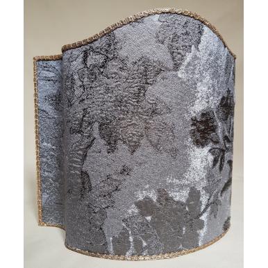 Paralume Ventola in Tessuto Lampasso di Seta Rubelli Dorian Gray Argento