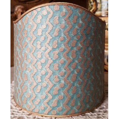 Wall Sconce Clip-On Shield Shade Fortuny Fabric Tapa Aquamarine & Silvery Gold Mini Lamp Shade