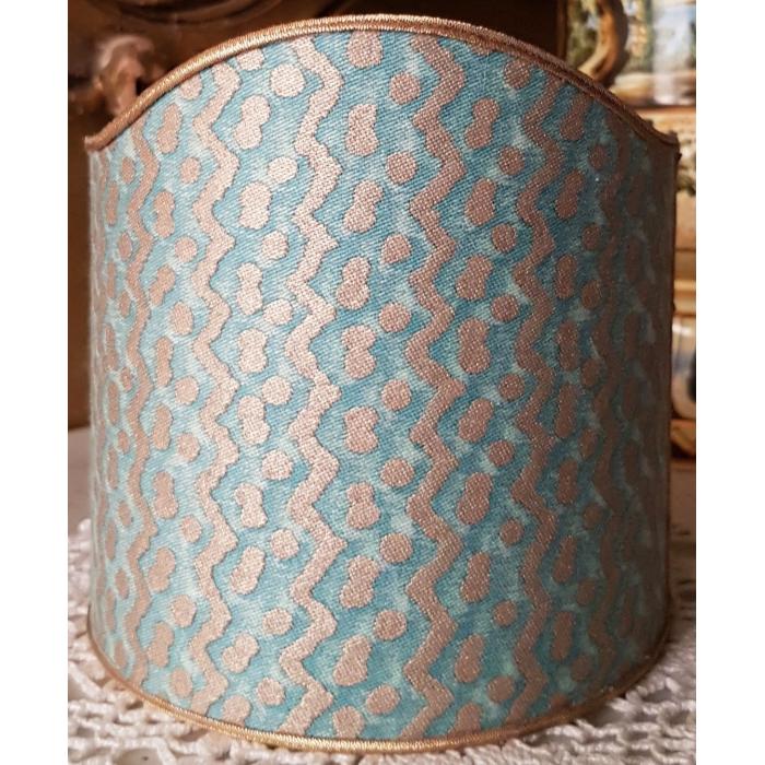 Wall Sconce Clip-On Shield Shade Fortuny Fabric Tapa Aquamarine & Silvery Gold Mini Lamp Shade