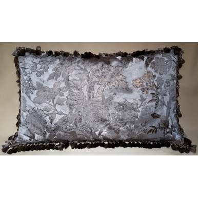 Pillow Case with Samuel and Sons Tassel Trim Silver & Gold Silk Brocade Rubelli Fabric Dorian Gray Pattern