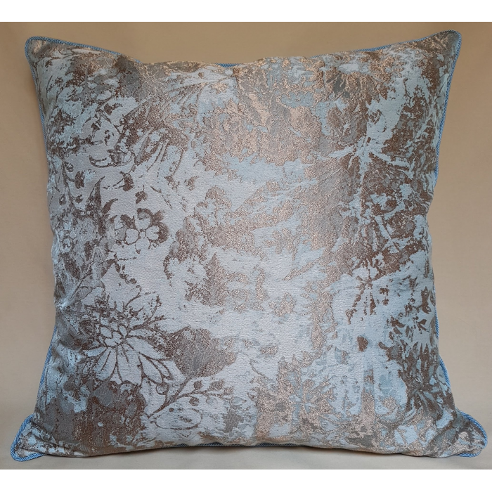 Throw Pillow Cushion Cover Aqua Blue & Gold Jacquard Rubelli Fabric Mirage Pattern