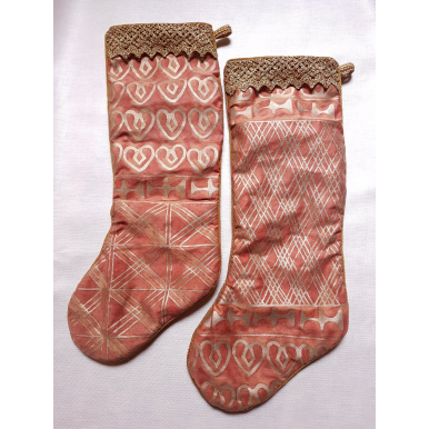 "20"" Set of 2 Luxury Christmas Stockings Fortuny Fabric Bittersweet & Gold Ashanti Pattern"