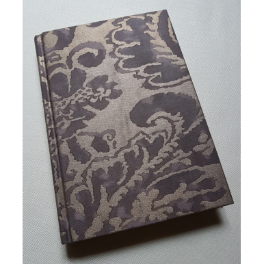 Carnet de Notes Couverture Tissu Fortuny Corone Gris et Or